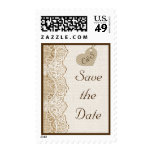 White lace & heart on burlap wedding Save the Date Stamp