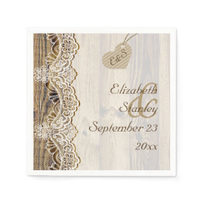 White lace & heart on wood rustic wedding standard cocktail napkin
