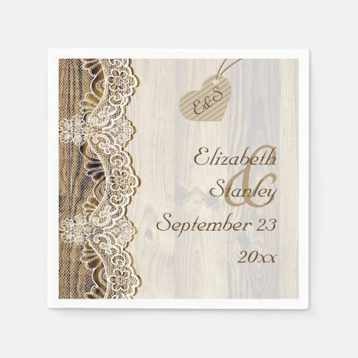 White lace & heart on wood rustic wedding disposable napkins