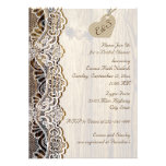White lace & heart on wood wedding bridal shower cards