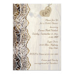 White lace & heart on wood wedding bridal shower 5x7 paper invitation card