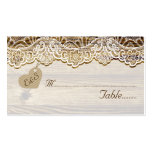 White lace & heart on wood wedding place card Double-Sided standard business cards (Pack of 100)