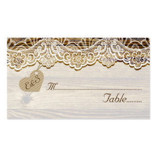 White lace & heart on wood wedding place card business card