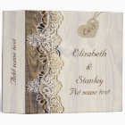 White lace & heart on wood wedding planner 3 ring binder