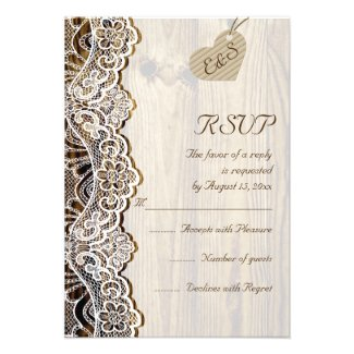 White lace & heart on wood wedding RSVP Invite