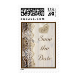White lace & heart on wood wedding Save the Date Postage Stamp