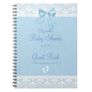 White Lace Image Blue Bow Baby Shower Guest Book- Spiral Note Book