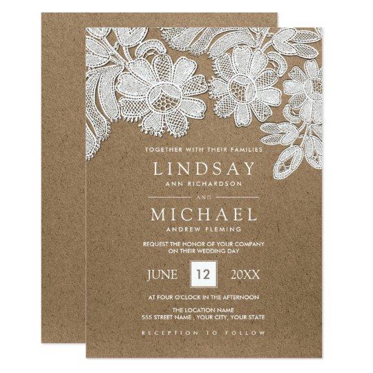 White Lace Kraft Paper Wedding Invitations