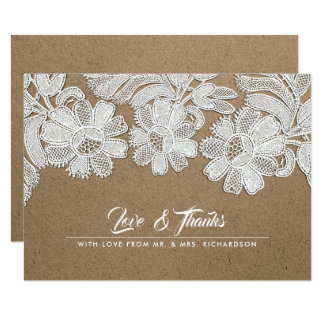White Lace | Kraft Paper Wedding Thank You Cards