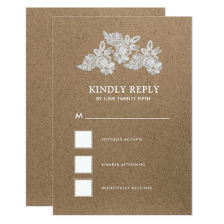 White Lace | Kraft  Wedding RSVP Cards