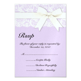 White Lace Lilac Purple Wedding Invitation