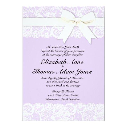 White Lace Lilac Purple Wedding Invitation