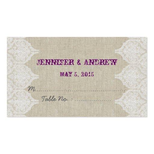 White Lace Linen Vintage Wedding Escort Card Business Card