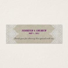 White Lace Linen Vintage Wedding Favor Card at Zazzle