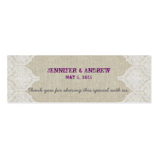 White Lace Linen Vintage Wedding Favor Card Double-Sided Mini Business Cards (Pack Of 20)