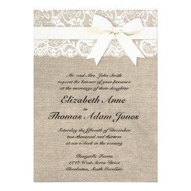 White Lace Look Rustic Burlap Wedding Invitation