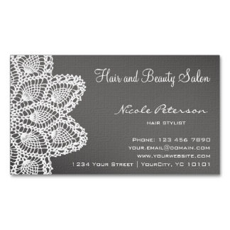 White Lace magnetic card - hair and beauty salon