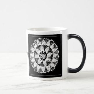 white lace mandala on black mug