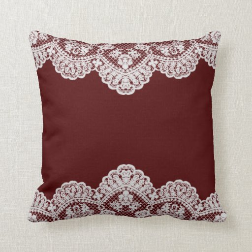 White Lace Maroon Pillows Zazzle