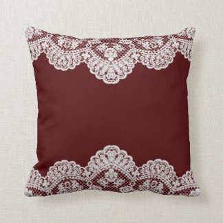 White Lace Maroon Throw Pillow