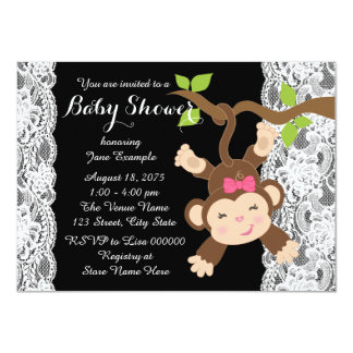 White Lace Monkey Baby Girl Shower Announcement