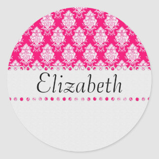 White Lace Monogram Template Classic Round Sticker
