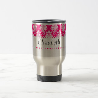 White Lace Monogram Template Travel Mug