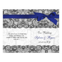 white lace,n blue ribbon book fold Wedding program