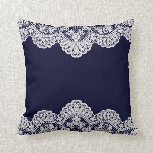 White Lace Throw Pillow : White Lace Navy Blue Throw Pillow Zazzle