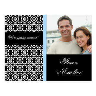 White Lace on Black - Save the Date Postcard