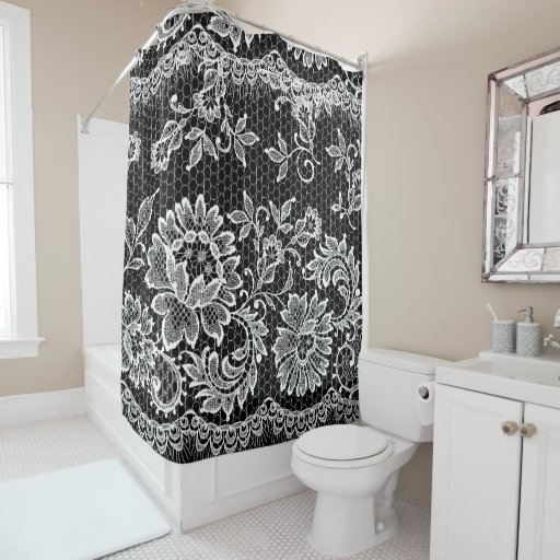 White Lace on Black Shower Curtain