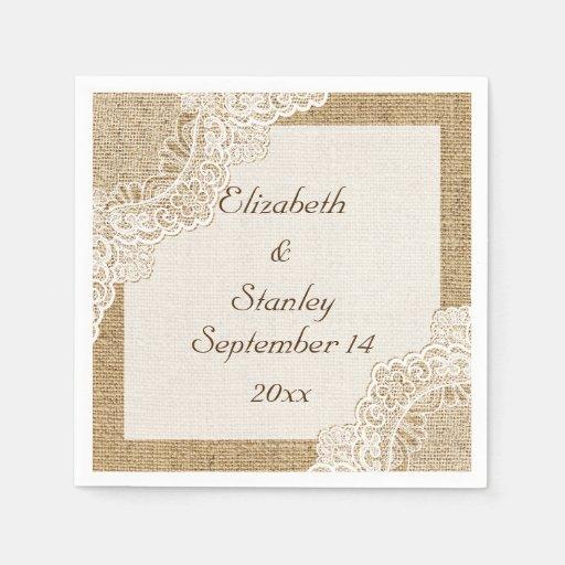 Rustic Wedding Napkins: White Lace On Burlap Rustic Wedding Paper Napkin