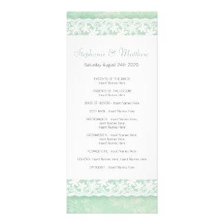 White lace on green wedding program rack card