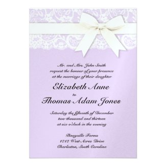 White Lace on Lilac Wedding Invitation