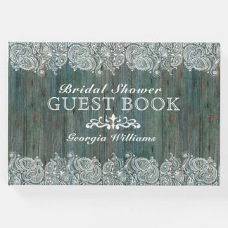 White Lace On Moss-Green Wood Texture Guest Book