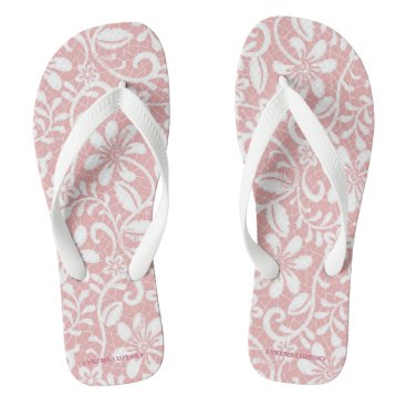 Beach Themed White Lace on Pink Flip Flops