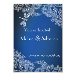White Lace on Royal Blue  Dragonflies Card