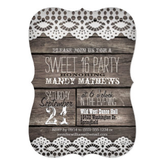 White Lace on Rustic Brown Wood Sweet 16 Party Card