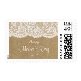 White Lace On Rustic Kraft Happy Mother's Day Stamp