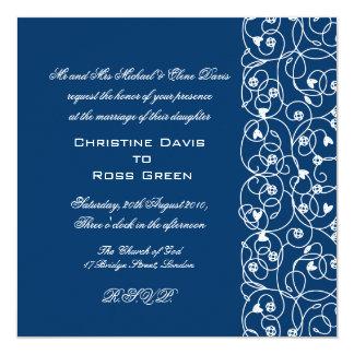 "White lace on stormy blue wedding invitation 5.25"" square invitation card"