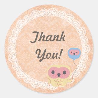 White Lace Owl Wedding Thank You Sticker