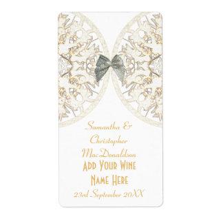 White lace papercut damask wedding wine bottle label