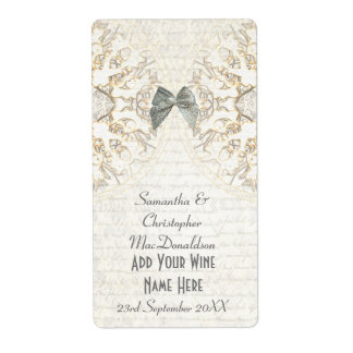 White lace papercut parchment wedding wine bottle label
