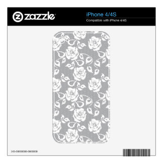 White lace pattern on gray background iPhone 4S decals