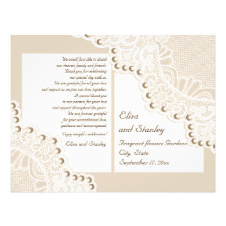 White lace & pearls beige folded wedding program