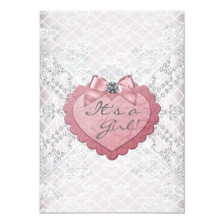 """White Lace Pink Heart Pink White Baby Girl Shower 5"""" X 7"""" Invitation Card"""