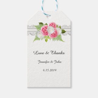 White Lace Pink Peonies Favor Gift Tag