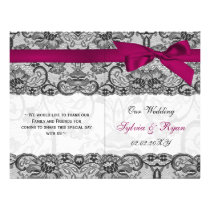 white lace,pink ribbon book fold Wedding program