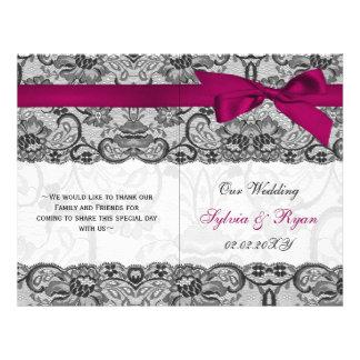 white lace,pink ribbon book fold Wedding program