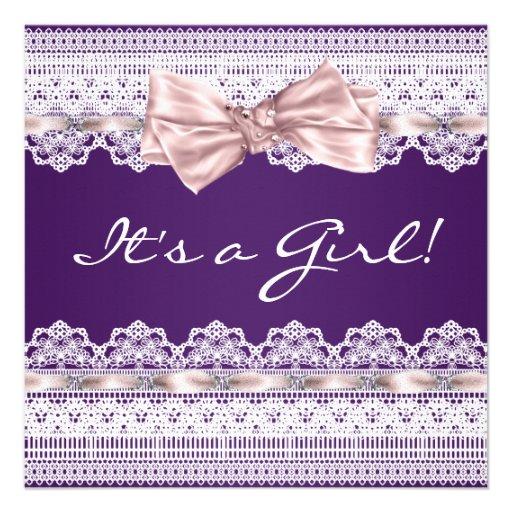 ribbon girl purple baby shower square invitation card zazzle